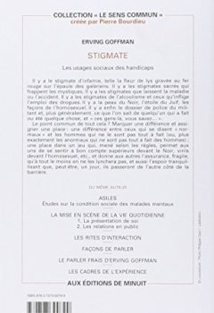 Livres Couvertures de Stigmate : Les usages sociaux des handicaps