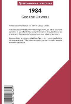 Livres Couvertures de 1984 de George Orwell: Questionnaire de lecture