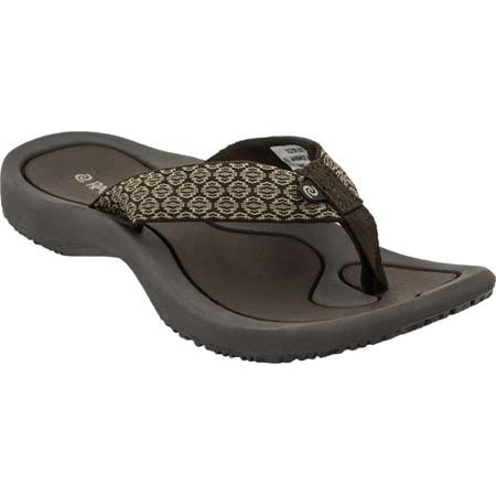 Contoured footbed with arch support for added comfort. Superior bounce for all-day comfort. Two piece zero glue construction , better for both the foot and the environment. Upper webbing is a soft tightly woven fabric that makes it more comfortable o...