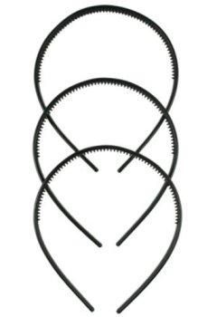 Livres Couvertures de Lot de 3 serre-têtes en plastique Noir 1 cm