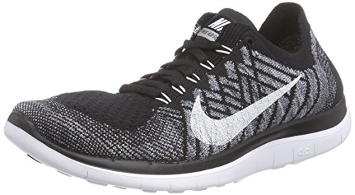 Nike Free 4.0 Flyknit, Damen Laufschuhe, Schwarz (Schwarz/Wolfgrau/Dunkles Grau/Weiß 001), 39 EU