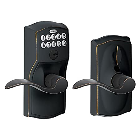 The Schlage FE595VCAM716ACC Camelot keypad accent lever door lock offers you the convenience of keyless entry so you never have to worry about losing your house keys again.  With the ability to program up to 19 unique user codes, friends and family ...