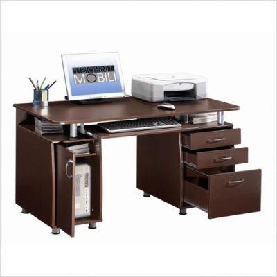 Picture of Comfortable Techni Mobili Super Storage Computer Desk in Chocolate Finish (B0033J90N8) (Computer Desks)
