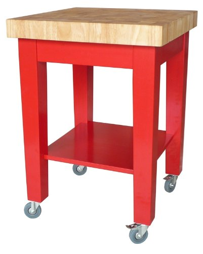 Image of International Concepts Kitchen Island - Red Base (WC21-2424)