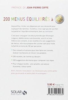 Livres Couvertures de 200 menus équilibrés à moins de 2 euros
