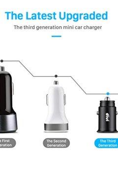Livres Couvertures de Chargeur de Voiture, Ultra Compact 2 Ports USB 5V / 4.8A / 24W en Alliage d'Aluminium Chargeur Allume Cigare avec la technologie de charge rapide pour iPhone X / 8/7 / 6s / Plus, iPad Air / mini, Galaxy S8 / S7 / Edge / Plus , Note 5/4, LG, Nexus, HTC et plus (Noir) (1 paquet)