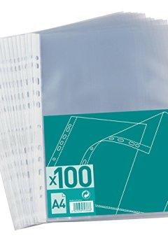Livres Couvertures de Elba 100 Pochettes Perforées A4 Polypropylène Grainé Incolore