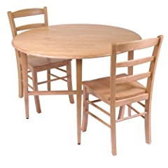 Winsome Hannah Dining Set, Drop Leaf Table with 2 Ladder Back Chairs, 3-Piece
