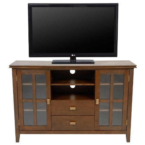 Image of Simpli Home AXCHOL005 Artisan Collection 54-Inch Width by 36-Inch Height Tv Stand, Medium Auburn Brown, 1-Pack (AXCHOL005)