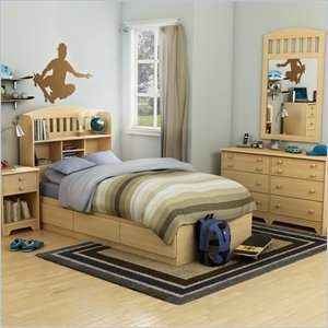 Image of South Shore Newton Kids Twin Wood Mates Storage Bed 6 Piece Bedroom Set in Natural Maple (2713PKG2)