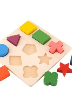 Livres Couvertures de Blocs En Bois Puzzle De Géométrie Jouet Educatif