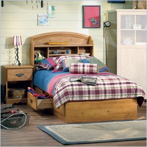 Image of South Shore Prairie Kids Twin Wood Bookcase Bed 3 Piece Bedroom Set in Country Pine (3232080-3PKG)