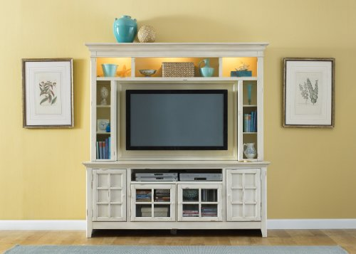Image of LIBERTY NEW GENERATION ENTERTAINMENT CENTER TV STAND & HUTCH VINTAGE WHITE NEW (840-ENT)