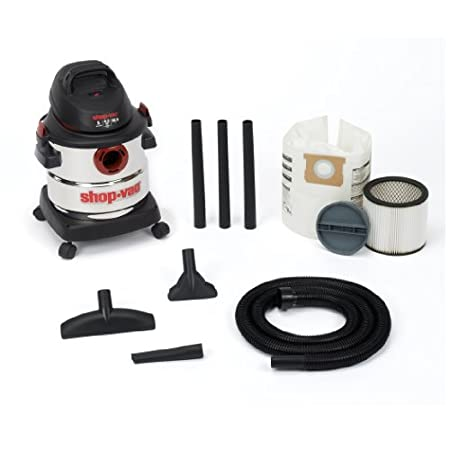 "Shop-Vac 5 gallon 4.5 Peak HP stainless steel can handle any cleaning job. Included accessories/filters are 7' x 1.25"" friction fit hose, 3-extension wands, 10 inch wet dry nozzle, gulper, crevice tools, tool holder, cartridge filter, collection bag."