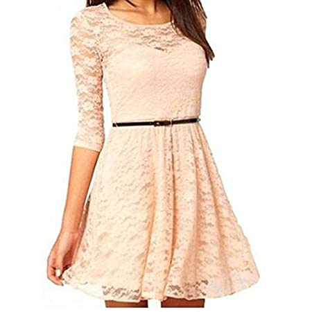 "Women's Ladies Elegant Sexy Round Neck 3/4 Sleeve Lace Dress With Belt  Size: There are four sizes (S, M, L and XL) available for the following listing. Asian Size S-----US Size XXS (1)/Length 30.4""/Shoulder 12.1""/Sleeve 12.5""/Bust 27.3""/Waist 25..."