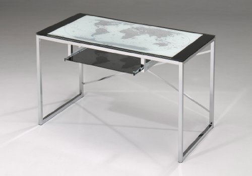 Picture of Comfortable Chrome Plated With World Globe On Glass Top Computer Desk (B005BRP58Y) (Computer Desks)