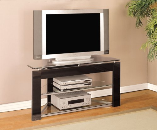 Image of Black and Glossy Silver TV Stand (938-802)