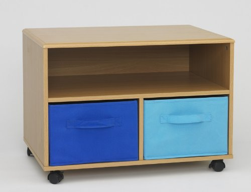 Image of Kid's Room TV Stand with Blue Canvas Foldable Drawers (AZ00-30312x20019)