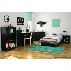 Image of South Shore Libra Kids Pure Black Twin Wood Platform Bed 3 Piece Bedroom Set (3070235-3PKG)