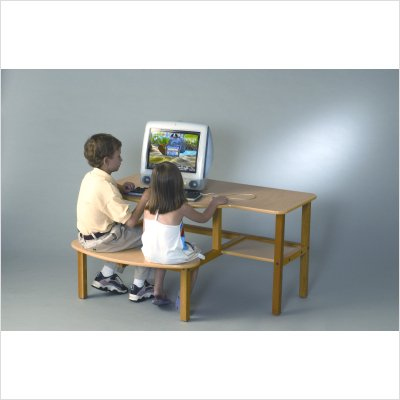 Picture of Comfortable Childrens wood computer desk for 1 or 2 kids, ages 6 - 10 - maple (B0018ABHZ8) (Computer Desks)