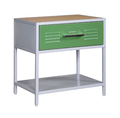 Image of Kids Nightstand in Silver Finish - Powell Teen Trends Collection (B0072BU6AY)