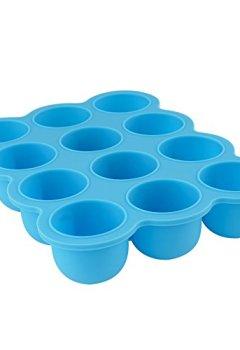 Livres Couvertures de 12 Set Pots de Conservation Moule en Silicone Repas pour Bébé convient pour Congélation Sans BPA Approuvé par FDA – Disponible sur Amazon- couvercle commun inclus - Bleu