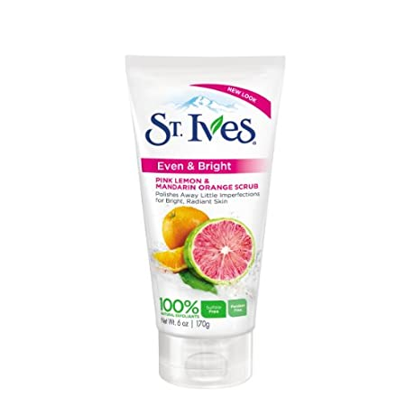 St. Ives Even & Bright Pink Lemon & Mandarin Orange Facial Scrub exfoliates to help even skin tone and polish away little imperfections, including dry patches and dark surface cells. Skin is left brighter and visibly even toned.    Gently cleanses ...