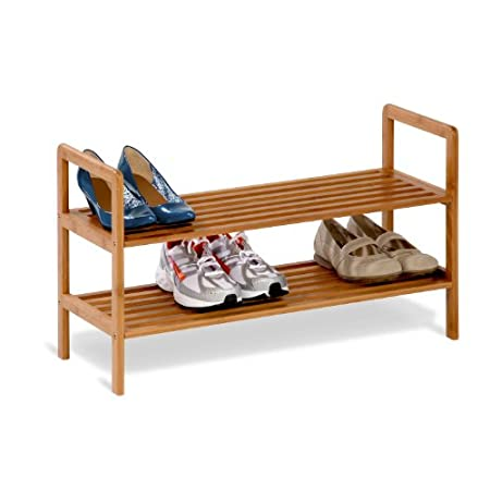 Honey-Can-Do SHO-01600 Bamboo Shoe Shelf, 2-Tier. 2-tier shelf for shoes, slippers, and boots; 27-1/2 by 10-1/4 by 15-3/4 inches. Made from fast-growing bamboo for reduced environmental impact. Slatted surface is attractive, durable, and naturally mo...