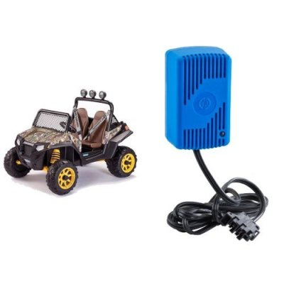 Peg-Perego-Polaris-RZR-900-CAMO-Ride-On-with-12-Volt-Quick-Charger-Bundle