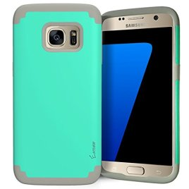 Galaxy-S7-Case-Enther-Snug-Cushion-Rugged-Heavdy-Duty-Protection-Armor-Dual-Layer-Hybrid-Full-Body-Protective-Case-Slim-Fit-One-Year-Warranty-Color-Teal