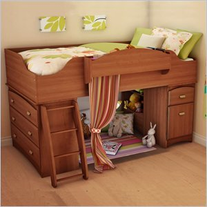 Image of South Shore Imagine Kids Loft Bed 2 Piece Bedroom Set in Morgan Cherry Finish (3576A3-2PKG)