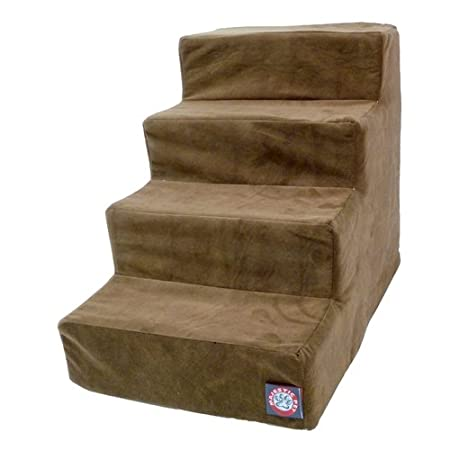 4 Step Chocolate Suede Pet Stairs by Majestic Pet Products for dogs or cats suffering from joint problems, aging issues, hip dysplasia, arthritis or other disabilities. Majestic Pet Steps will enable your dog or cat to navigate furniture, window sill...