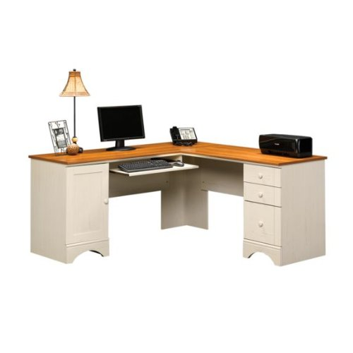 Picture of Comfortable Corner Computer Desk - Antique White Finish (B0052VP124) (Computer Desks)