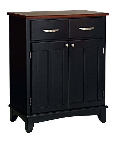 Image of Server Sideboard with Medium Cherry Wood Top in Black Finish (VF_HY-5001-0042)