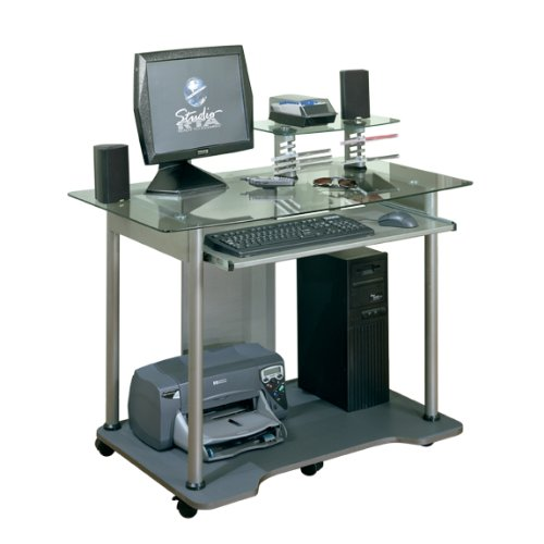 Picture of Comfortable Mobile Computer Desk Cart - Charcoal & Clear Glass Finish (B004XEM01Q) (Computer Carts)