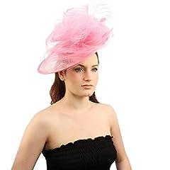 Fancy Derby Disc Swirl Tulle Feather Headband Fascinator Millinery Church Pink