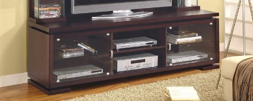 Image of Contemporary Cappuccino Finish Plasma TV Stand Console Table (VF_700173T)