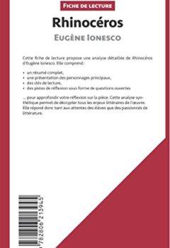 Livres Couvertures de Rhinocéros d'Eugène Ionesco (Fiche de lecture): Résumé Complet Et Analyse Détaillée De L'oeuvre