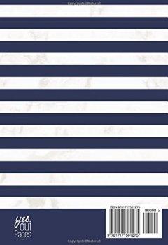 Livres Couvertures de Agenda 2018-2019: Agenda Scolaire de Juillet 2018 à Août 2019, Semainier simple & graphique, motif marinière bleu et marbre blanc