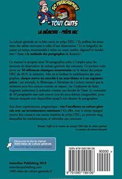 Livres Couvertures de La mémoire - Prépa HEC (références classiques): 50 paragraphes tout cuits