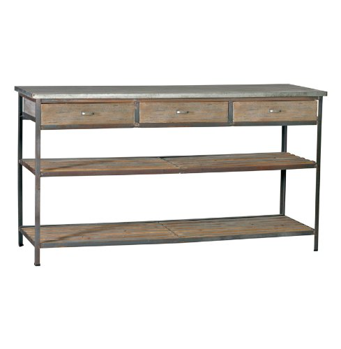 Image of Nicholas Industrial Loft Kitchen Island Console Table with Drawers (SCH-501020)