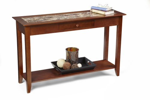 Image of Convenience Concepts M8103081 American Heritage Faux Marble Console Table with Drawer and Shelf, Cherry (M8103081)
