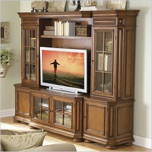 Image of Riverside Furniture Seville Square Warm Oak 48 Inch TV Stand Entertainment Wall System (8940-PKG)