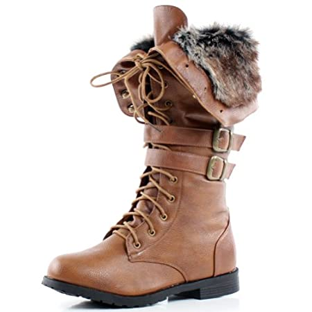 Faux Fur Folded Lace Up Combat Military Women Mid-Calf Low Heel