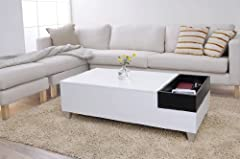 Enitial Lab Audra Coffee Table with Serving Tray, White