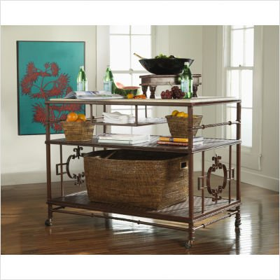 Image of Bristol Rolling Kitchen Island Top Option: Copperstone Top, Finish: Sheer Metal (Indoor/Covered Patio Use) (WKI349C-SheerMetal)