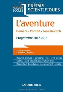 Livres Couvertures de L'Aventure - Homère - Conrad - Jankélévitch - Prépas scientifiques 2017-2018
