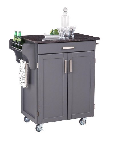 Image of Kitchen Cart with Salmon and Gray Granite Top in Gray Finish (VF_HY-9001-0085)