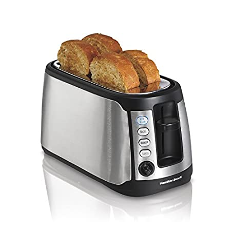 Tired of cold toast? The Hamilton Beach Keep Warm 4-Slice Long Slot Toaster easily fits extra-long, extra-wide breads and bagels and has an optional keep warm setting to keep your toast warm for an extra 3 minutes in the slots.