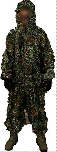サバゲーに ギリースーツ 迷彩 上下 セット メッシュ フード 付き 狙撃手 ハンター ミリタリー 収納袋 セット